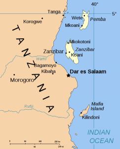 Arcipelago di Zanzibar (le isole sono evidenziate in giallo)
