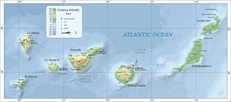 Mappa Fisica Isole Canarie