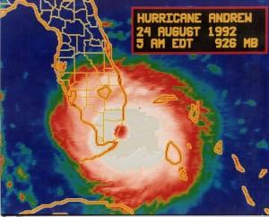 Vista dell'uragano Andrew
